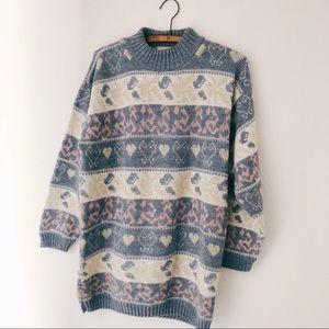 Vintage 80's/90's heart fairy kei tunic sweater S